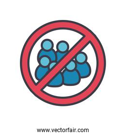 sign of forbidden crowds icon, flat style