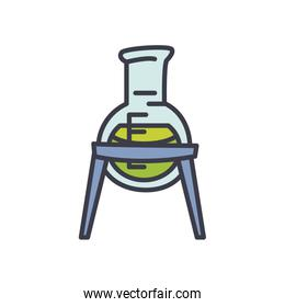 chemical flask on stand icon, flat style