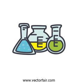 chemical flasks icon, flat style