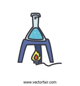 chemiscal burner with conical flask icon, flat style
