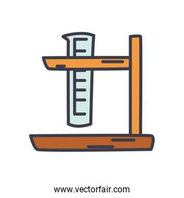 test tube on stand icon, flat style