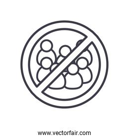 sign of forbidden crowds icon, line style