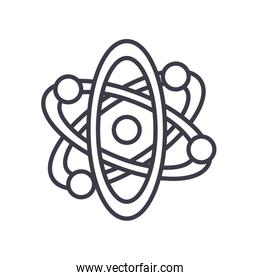 science atom icon, line style