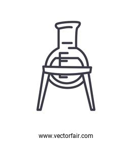 chemical flask on stand icon, line style