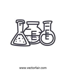 chemical flasks icon, line style