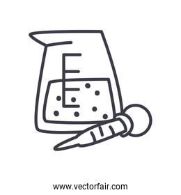 chemical beaker and dropper icon, line style