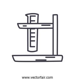 test tube on stand icon, line style