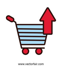 shopping cart with arrow up line and fill style