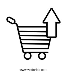 shopping cart with arrow up line style