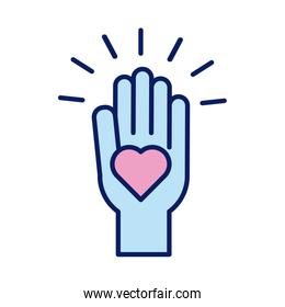 hand lifting heart solidarity line and fill style