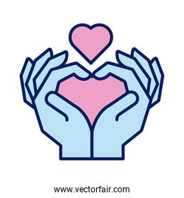hands human lifting heart solidarity line and fill style