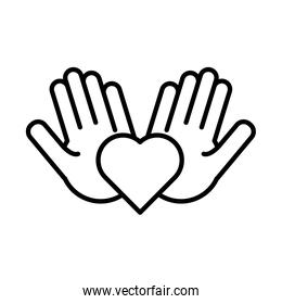 hands human lifting heart solidarity line  style