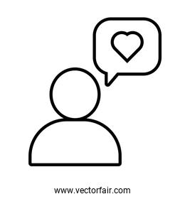 human figure with speech bubble and heart solidarity line and fill