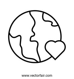 earth planet with heart solidarity line  style