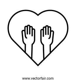 heart with hands solidarity line  style