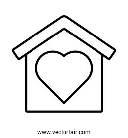 house with heart solidarity line  style