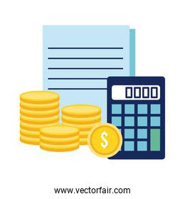 calculator with coins and documents flat style icon