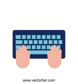 hands using keyboard flat style icon
