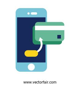 smartphone with credit card flat style