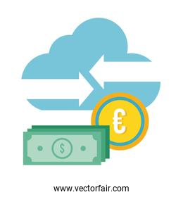 bills dollars and coin euro with cloud flat style icon