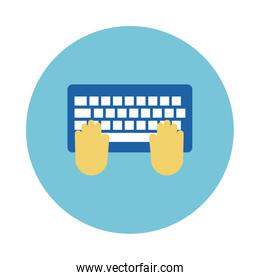 hands using keyboard block  style icon
