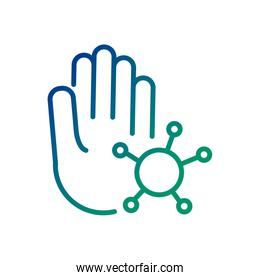 hand with covid19 virus particle line style