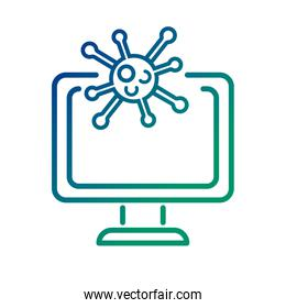 covid19 virus particle in desktop line style