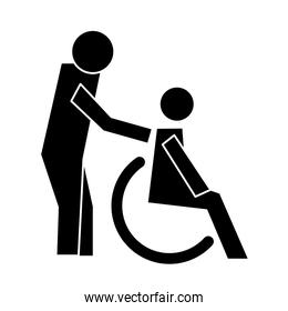 humans figures in wheelchair health pictogram silhouettes style