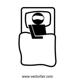 human with fever sleeping in bed health pictogram silhouette style