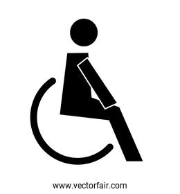human figure in wheelchair health pictogram silhouette style