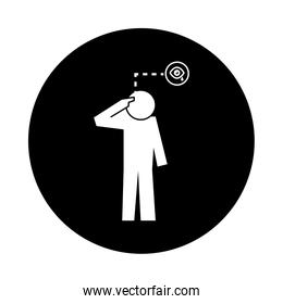 human figure with crying eyes health pictogram block style