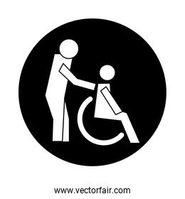 humans figures in wheelchair health pictogram block style