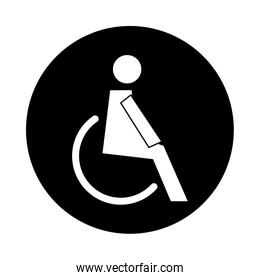 human figure in wheelchair health pictogram block style