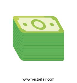 wad of bills icon, flat style