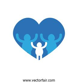 charity donations concept, heart with pictogram family icon, flat style