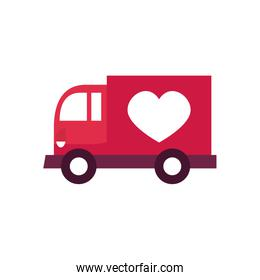 charity donations concept, donations truck with heart icon, flat style