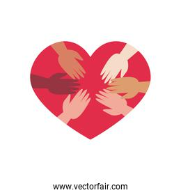 charity donations concept,heart with solidarity hands icon, flat style