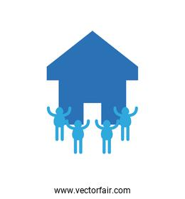 charity donations concept, house with pictogram people around icon, flat style