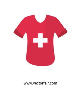 charity donations concept, tshirt with medical cross icon, flat style