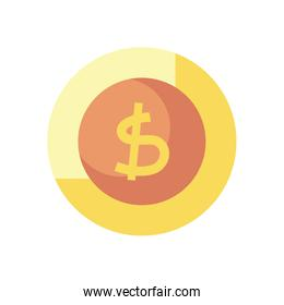 money coin icon, flat style