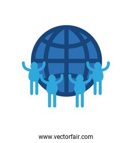 charity donations concept, global sphere with pictogram people around, flat style