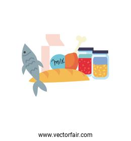 charity donations concept, food and grocery products icon, flat style