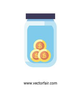 charity donations concept, moneybox bottle with coins icon, flat style