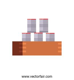 charity donations concept, canned food stack icon, flat style