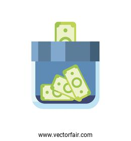 charity donations concept, moneybox bottle with money bills icon, flat style