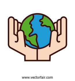 hands lifting world planet earth line and fill style