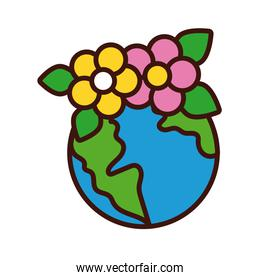 world planet earth with flowers line and fill style