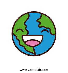world planet earth smiling character line and fill style