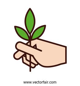 hand lifting leafs plant ecology line and fill style