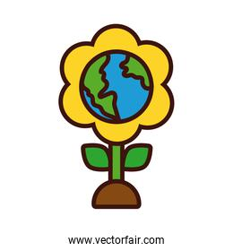 flower with world planet earth line and fill style